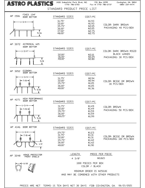 STANDARD PRODUCT PRICE LIST SHEET 1